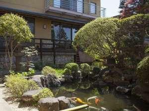 館内の庭園には鯉が泳ぐ
