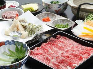 お夕食一例(上州牛のしゃぶしゃぶ)/群馬が誇るブランド牛をたっぷりご賞味下さい。