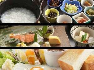 横手プラザホテル:朝食は①和定食・朝粥定食・モーニングセットから当日自由に選べます♪