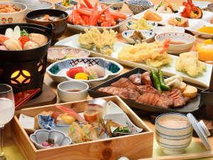 鳴子温泉 湯元 吉祥:【ご夕食】テーブルへご用意する季節の食前酒&旬彩膳と、郷土料理が中心のセミバイキング♪