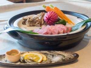 熊野の宿 海ひかり:*【お料理】夕食:美熊野牛ミスジ温泉蒸し
