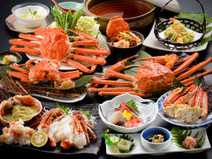 しきぶ温泉湯楽里:≪越前蟹フル/特選コース≫蟹づくし!身のしまった美味しい蟹が、鮮度バツグンです♪※例:2名様分