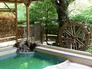 清水屋旅館:温度の違う5つの浴槽がある露天風呂です。