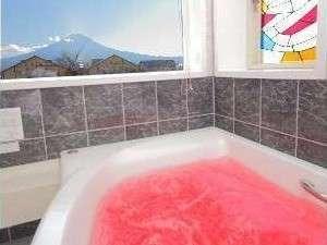 ヴィラ アンソレイユ:富士山が目の前に広がる展望ジャグジー風呂。浴槽は大きめ、ゆったりサイズ