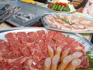 湯の森くす:BBQのお肉は黒毛和牛を使用!ボリュームもたっぷり♪