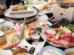 *【夕食一例】メインは上州牛のすき焼き(椿コース)