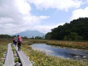 ペンション オウレット:初秋の尾瀬国立公園 尾瀬ヶ原の木道と池塘