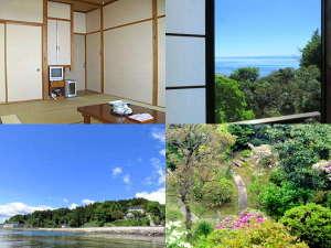 氷見の民宿 青柳:お部屋は10畳の和室。高台の宿からは中庭越しに海が見えます(海側の部屋は先着順です)。