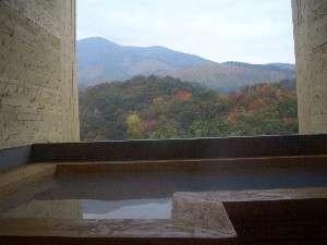豊礼の宿:この度あたらしくオープンした家族湯。寝そべり湯でわいた山一望の絶景湯♪(一時間1500円)