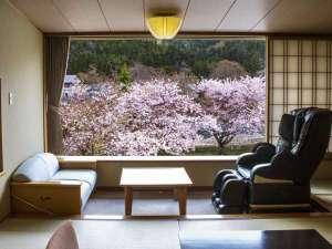 山形の旬を里山会席で味わう 瀬見温泉 ゆめみの宿 観松館:お部屋からの眺望「桜景色」