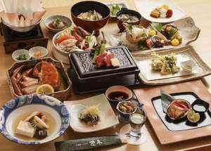 川湯第一ホテル 忍冬(SUIKAZURA):あわびのステーキ、海鮮しゃぶしゅぶ、めんめの淡煮、和牛陶板焼きなどの13品