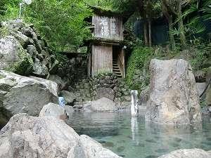 上湯温泉 神湯荘:男性露天風呂 水の神初夏