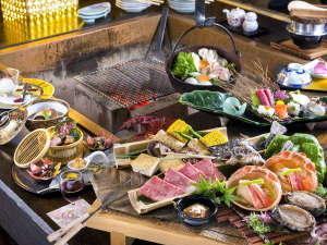 ホテル森の風鶯宿:炉端会席膳は、山海の幸をスタッフがお客様の目の前でじっくり焼き上げます。