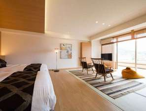 萬象閣敷島:贅沢時間【Sora502】和のあたたかさとベットの快適さを備えた和洋室