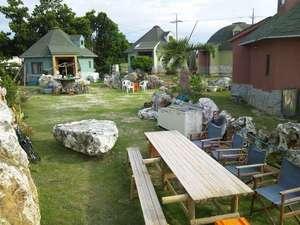 南大東コテージKIRAKU:バーベキューコーナーも有り。お客様同士のユンタクの場としても活躍。