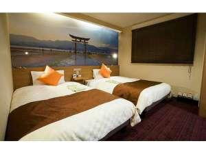 広島インテリジェントホテル:H29年2月改装のデラックスツインルーム(和洋室)