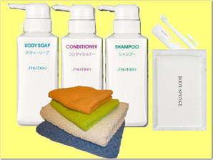 アメニティのご案内。バスアメニティは資生堂製品をご用意。ボディースポンジ、歯ブラシ・タオルセット