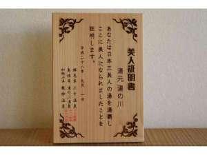 日本三美人の湯 湯元 湯の川:美人証明書