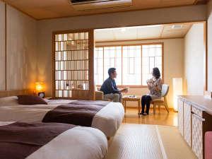 ホテル大雪:【雪ほたる・洋室35平米】低反発マットを使用したベッドでゆっくりお休みいただけます。
