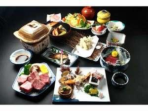 源泉かけ流しのおやど 菊半旅館:選べるプランのお夕食の一例です。