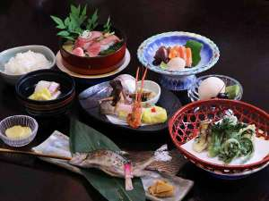 *【夕食一例】腹八分目セット 2大牛炙り寿司コース