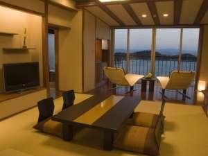 天空ホテル 海廬:■倶楽部フロア-E: テラス・バスルームからは瀬戸内の大パノラマ