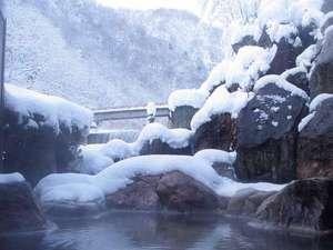 5つのお湯めぐり 小川温泉元湯 ホテルおがわ:冬の露天岩風呂。雪景色を眺めながらゆったり温泉三昧