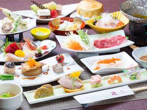 渡り温泉 別邸楓:スタンダード御膳イメージ。旬の食材を使用した月替りのお食事をお楽しみ下さいませ。