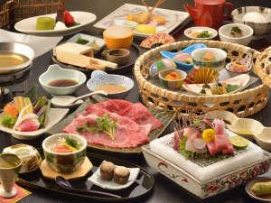 熱海後楽園ホテル:和会席料理一例。メインは肉料理か魚料理のチョイスとなります。