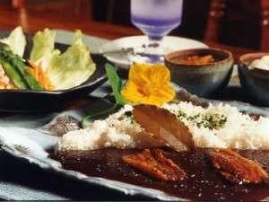 ウッディ・ライフ:30種類のスパイスと地場産食材を取り入れたマイルドスパイス黒カレー、野菜サラダ、コーンスープ