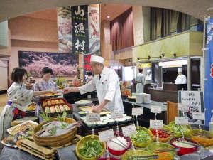 【バイキング】大人気!愛媛の食材を使った和洋80品バイキング☆実演料理が人気です。