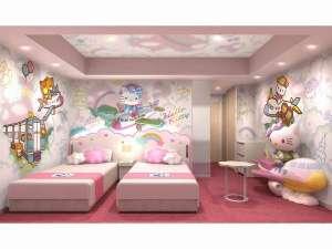 中部国際空港セントレアホテル:ハローキティ ルーム。 飛行機に乗ったハローキティがお出迎え☆かわいさいっぱいのお部屋。