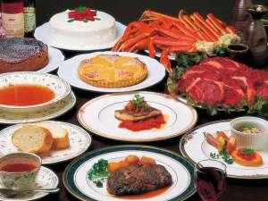 ペンション ユミィ:欧風コース料理一例(好評の食べ飲み放題プランは要予約)