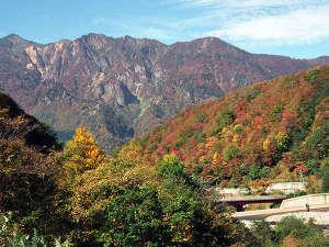 切明リバーサイドハウス:秋山郷栃川付近の紅葉。後ろは鳥甲山