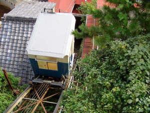 伊豆 伊東温泉 陽気館:名物・館内登山電車(乗車定員6名)がコトコトと斜度45度、30m斜面を登ります!