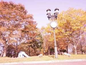 みちのく城址温泉・ホテルみどりの郷:晴れた秋空のみどりの公園です