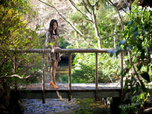 道後温泉 ふなや~創業三百九十余年~:1500坪のふなや庭園を流れる小川が癒しの空間を演出します。