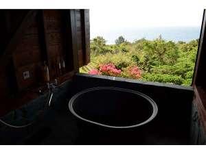 屋久島 海の胡汀路 てぃーだ:海を眺めながら入れる半露天の五右衛門風呂