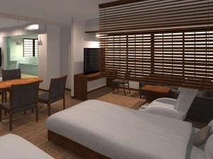 【スイートルーム】広々としたお部屋と、宮島の四季を臨みながらのバスタイムを存分にお楽しみください。