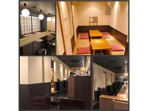 御殿場ビジネスホテル千楽:食堂 カウンター席 テーブル席 お座敷