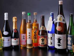 日本酒、焼酎、梅酒、洋酒、アイテム豊富にご用意。