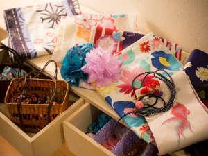 女性のお客様には、色浴衣、和小物豊富にご用意。男性のお客様用も、ご用意しています。