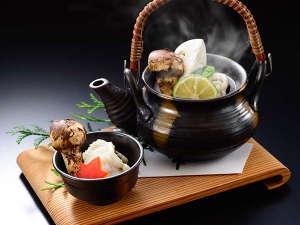 名栗温泉 大松閣:★松茸会席プラン★(料理一例)秋鱧と松茸の土瓶蒸し。
