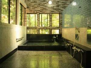 元湯 山田屋旅館:2階までふき抜けの開放感溢れるお風呂。窓からは渓流が望め、PH10.1と非常になめらかでお肌はつるつる。