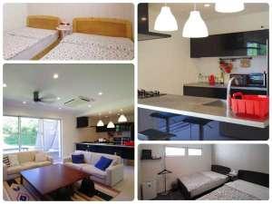 UmiOto ウミオト Guesthouse Resort:眺めの良いリビング&カウンターキッチン!客室は6室の壁紙が全て異なり違った雰囲気です(ナンバーキー)