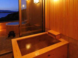 離れ杜の湯 海いろ別邸:客室露天風呂からの夕景