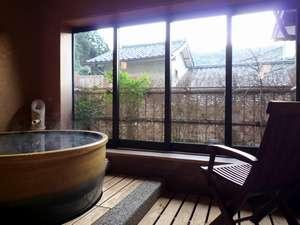 お子様連れの方も入って頂ける少し広めの貸切風呂です。こちらも城崎の温泉です。陶器風呂『月』1620円