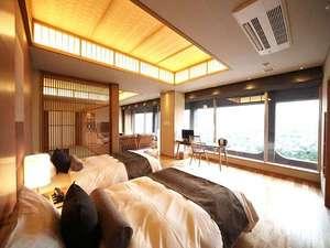 源泉かけ流し半露天風呂付き客室 シモンズのベットで旅の夢のつづきを。Wi-Fi利用可能