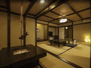 平湯温泉 平田館:檜のかけ流し温泉付特別室檜々木。総檜温泉+主室10畳+杉の間6畳+囲炉裏の贅沢な空間。