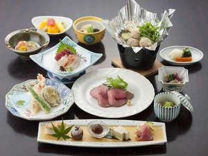 草津ホテル:【夕食】料理長吉岡が一品一品丁寧に作る、会席料理。
